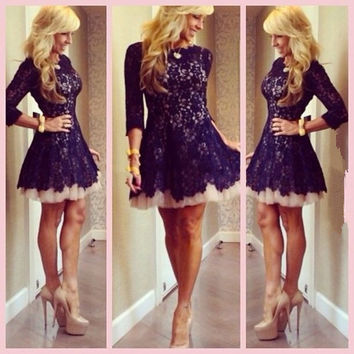 Vestidos De Renda 2016 High Neck Navy Blue Lace Tulle Cocktail Dress Short Prom Party Gowns With Sleeves