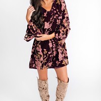 Velvet Dreaming Floral Dress (Wine)