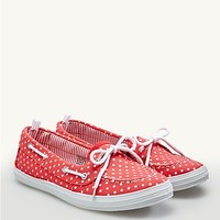 Polka Dot Canvas Boat Shoes