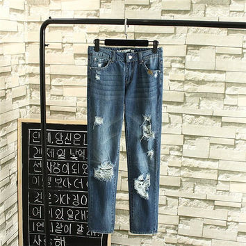 Korean Summer Women's Fashion With Pocket Embroidery Ripped Holes Denim Pants [4920277572]