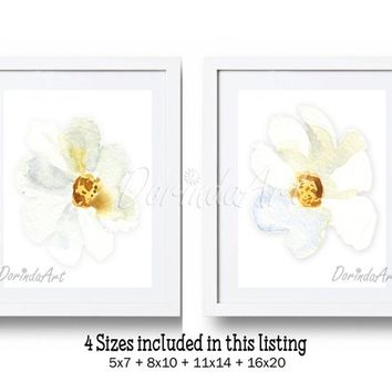 Set of 2 white watercolor flowers White and gold floral Wall Art White flower wall art printable Flower wall decor Nursery art Download