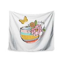 """Jennifer Rizzo """"Tea Cup Vase"""" Yellow Vintage Wall Tapestry"""