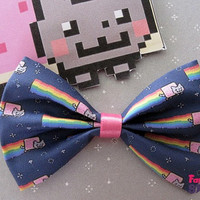 Nyan cat internet meme Hair bow / Bow tie handmade kawaii geeky Fabric Bow