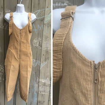 Vintage overalls | 1970s Mountain Goat by White Stag tan corduroy ski overalls snow pants