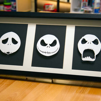 Jack Skellington Heads - hand cut 3D paper craft