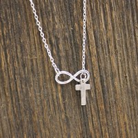 Cross And Infinity Lariat Necklace In Silver