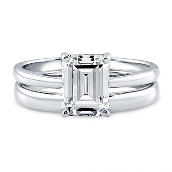 A Perfect 2.38CT Emerald Cut Solitaire Russian Lab Diamond Bridal Set
