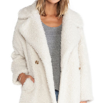Essentiel Haxara Maxi Faux Fur Coat in Ivory
