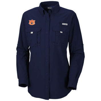 Auburn Tigers Columbia Women's Bahama Long Sleeve Button Down Shirt - Navy Blue