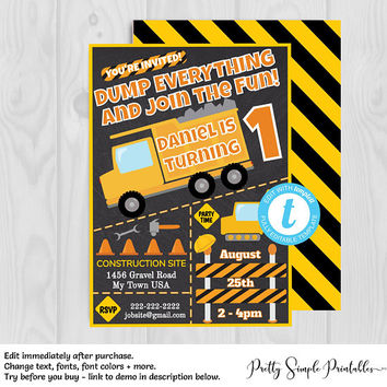 Construction Birthday Invitation, Dump Truck Invite, Invitation Template, Edit with Templett, Digital Birthday Invitation Boy, Download CNST
