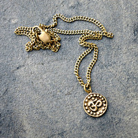 Om Pendant, Bronze Pendant, Charm Necklace, Delicate Jewelry, Layering Necklace, Zen Jewelry, Boho Necklace, Summer Jewelry, Gold Circle