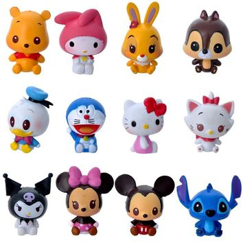12pcs/set Classic Cartoon Action Figure Mickey Minnie Mouse Hello Kitty Stitch Doraemon Action Figures Toys Model Toy for Girls