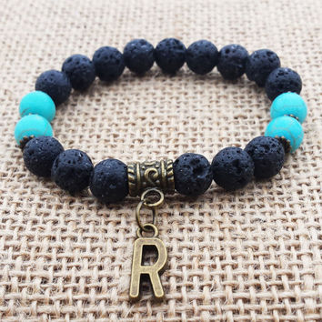 Initial Bracelet Personalized Antic Bronze Initial Charm Bracelet Black Lava Turquoise Bracelet Beaded Stretch Lava Bracelet Gifts For Him
