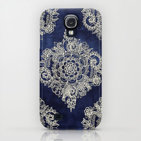 Cream Floral Moroccan Pattern on Deep Indigo Ink Galaxy S4 Case by Micklyn
