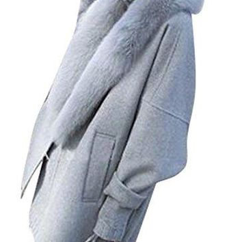 SYTX Womens Winter Faux Fur Collar Thicken Solid Color Wool Trench Pea Coat Overcoat