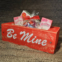 Valentine's Day or Sweetest Day Be Mine gift box, Reclaimed wooden box hand crafted and painted, Red box home decor, Candy gift box