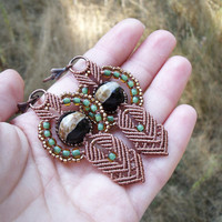 Micro macrame earrings - Brown Green Black Boho Unique