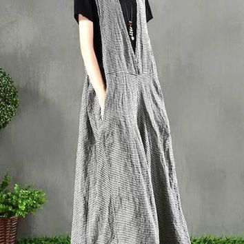2019 Spring ZANZEA Casual Wide Leg Jumpsuits Women V Neck Strappy Vintag Plaid Check Rompers Elegant Work Loose Long Overalls