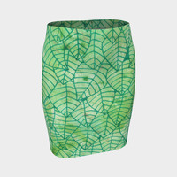 Green foliage Fitted Skirt Fitted Skirt