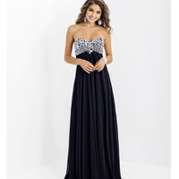 Blush 2014 Prom Dresses - Black Taffeta Strapless Prom Gown
