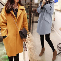Single Breasted Long Sleeves Woolen Coat