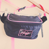 Vintage 80's Hip Pocket Fanny Pack Neon Pink  Nylon  with Zipper and Pocket Bum Bag Rave Festival Wear Club