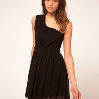 ASOS | ASOS One Shoulder Dress with Mesh Skater skirt at ASOS