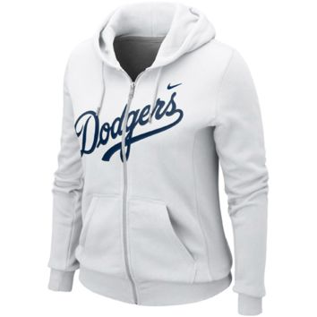 Nike L.A. Dodgers Ladies Classic Full Zip Hoodie - White 38fa8a0e78