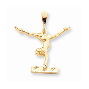 10k Yellow Gold Satin Finish Gymnast Pendant