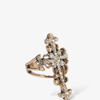 Rhinestoned Cross Ring