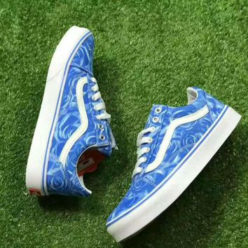One-nice™ VANS OLD skool Fashion Women Casual Shoes Low tops blue print H-A50-XYZ