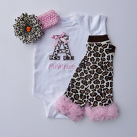 Baby Girl Gift Set Personalized Onesuit and Leg Warmers Cheetah and Pink