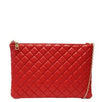 Red Quilted ZipTop Large Clutch Purse