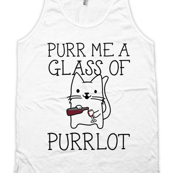 Funny Drinking Tank Purr Me A Glass Of Purrlot Funny Wine Tank Cat Top Wine Gifts Wine Drinker American Apparel Ladies Unisex Tank WT-334