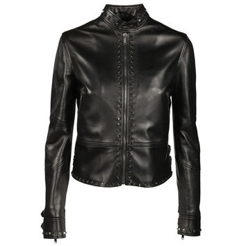 VALENTINO  Untitled Rockstud Leather Biker Jacket, Black