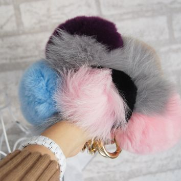 Real Fur Pompom Key Chain