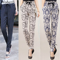 Woherb 6 color NEW Hot Sale Women Cotton Silk Pants Loose Print Harem Pants Female thin Feet Trousers Plus Size Ankle Length