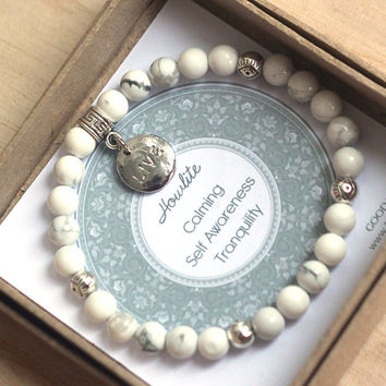 White and Gray Howlite Bracelet with Silver Evil Eye Beads and Live Charm for calming, self awareness, tranquility, protection, yoga jewelry