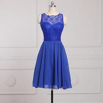 New Arrival Scoop Chiffon A-Line Bridesmaid Dresses With Lace Zipper Back Wedding Party Dresses 2016 Short Party Gowns