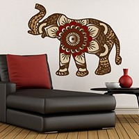 "Wall Decals Indian Elephant Full Color Murals Yoga Geometric Mandala Colorful Boho Bedding Vinyl Decal Stickers Bohemian Home Decor EN56 (Vinyl, 22"" Tall x 28"" Wide)"