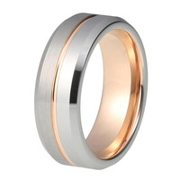 Mens Rose Gold Wedding Band Ring Brushed 8mm Tungsten Carbide Man Engagement Male Anniversary Beveled Edges Promise Silver Wedding Ring