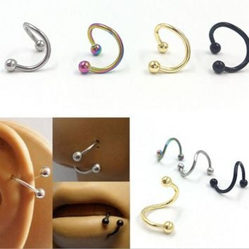10pcs Piercing Lengua Stainless Steel Spiral Nose Rings Earring Stud Tragus Piercing for Women Men Fashion Pircing Nariz F3888