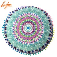 Hyha Hippie Mandala Rund Cushion Cover Pompom Bohemian Tassel Paisley Throw Pillow Cover Meditation Cushion Decorative Pillows
