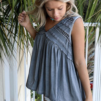 Congo Town Gray Crochet Top