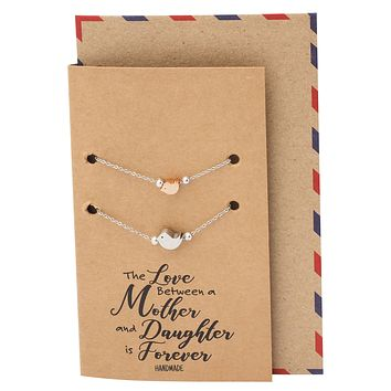 Kizia Mother Daughter Bird Pearl Bracelets Set For 2 , Silver Tone, Gifts for Mom With Greeting Card
