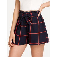 Grid Print Self Tie Shorts
