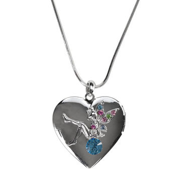 Blue Gemmed Fairy Locket Necklace