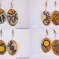 Pyrographed Wood Earrings - Small Oval earrings with diferent abstract pattern on each side-Choose your pair