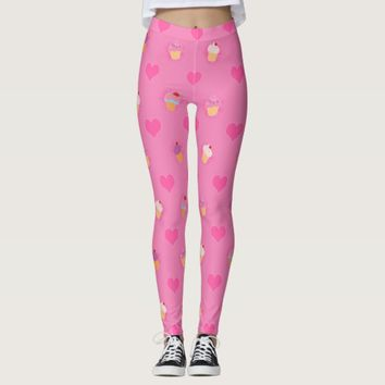 Pink Cupcake Pattern Leggings