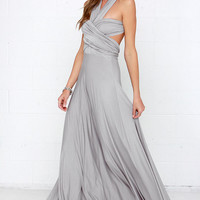 Tricks of the Trade Light Grey Maxi Dress